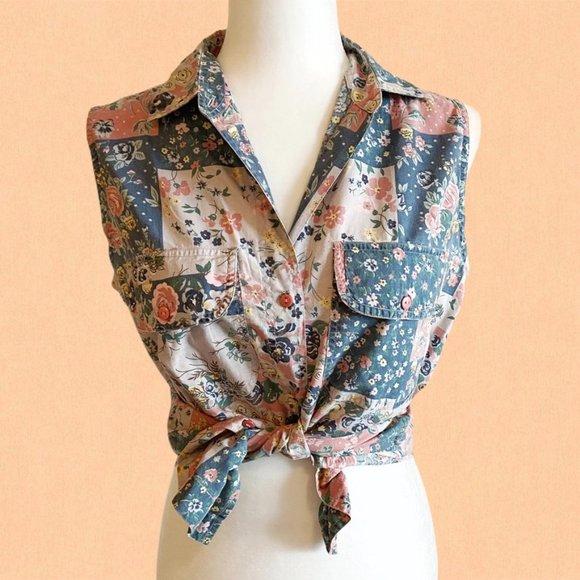 Vintage patchwork sleeveless button down shirt